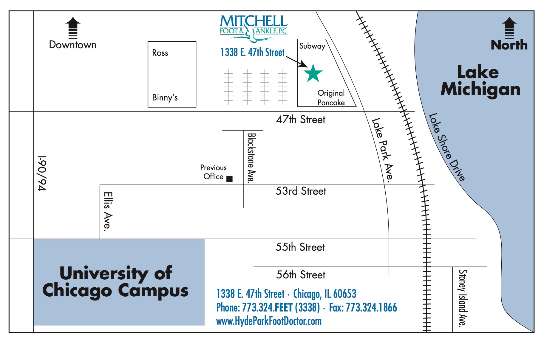 Map of Mitchell Foot & Ankle Clinic - Hyde park location.